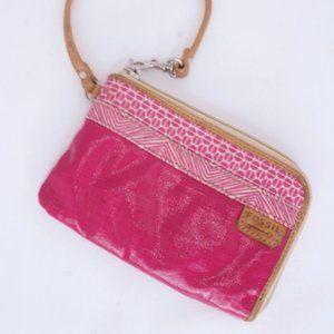 Fossil KeyPer Pink Zipper Wristlet Mini Wallet